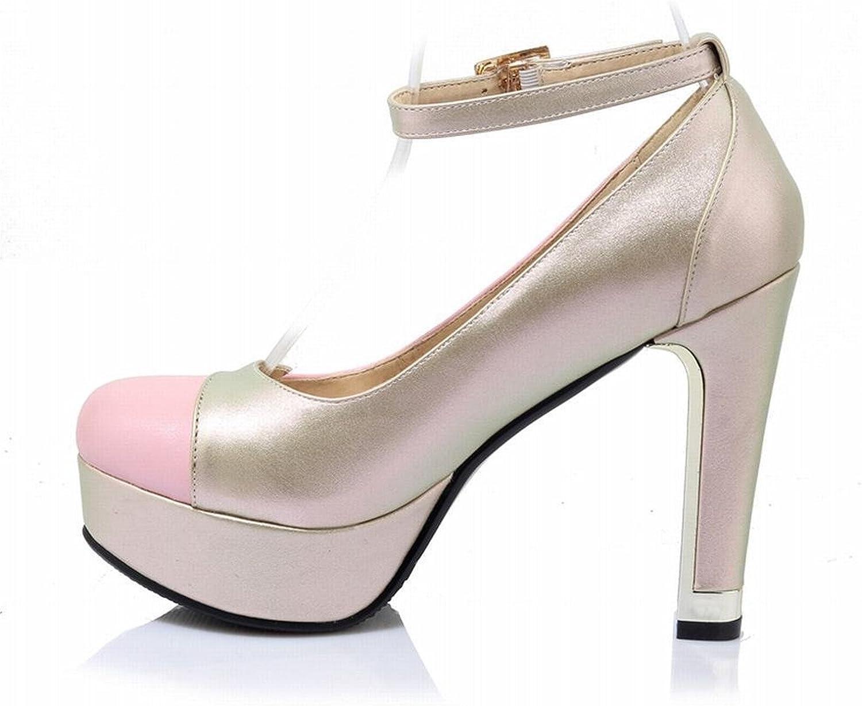 Reinhar Women's Ankle Strap Platform High Heels Dress Pumps