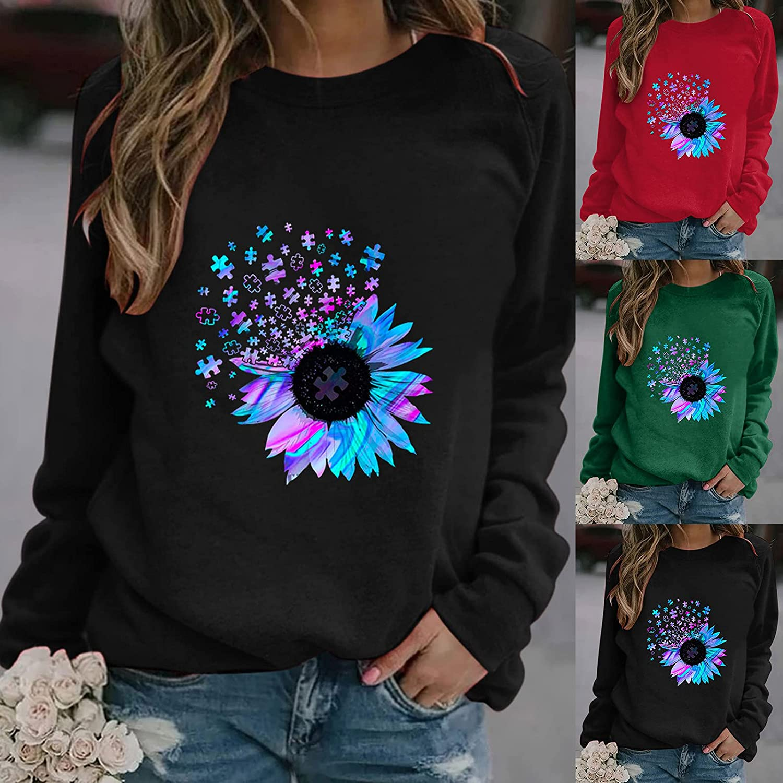 felwors Sweatshirts for Women, Women's Cute Print Lightweight Pullover Shirts Long Sleeve Casual Crewneck Sweatshirt