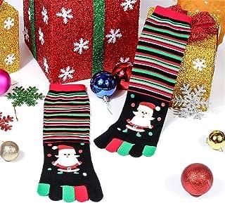 Calcetines unisex con estampado unisex de Navidad Calcetines con cinco dedos Calcetines deportivos divertidos de algodón casual para danza Yoga