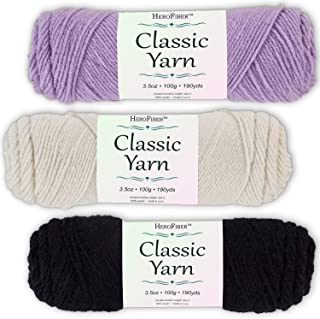 Soft Acrylic Yarn 3-Pack, 3.5oz / Ball, Light Lavender + Eggshell White + Night Black. Great Value for Knitting, Crochet, Needlework, Arts & Crafts Projects, Gift Set for Beginners and pros Alike