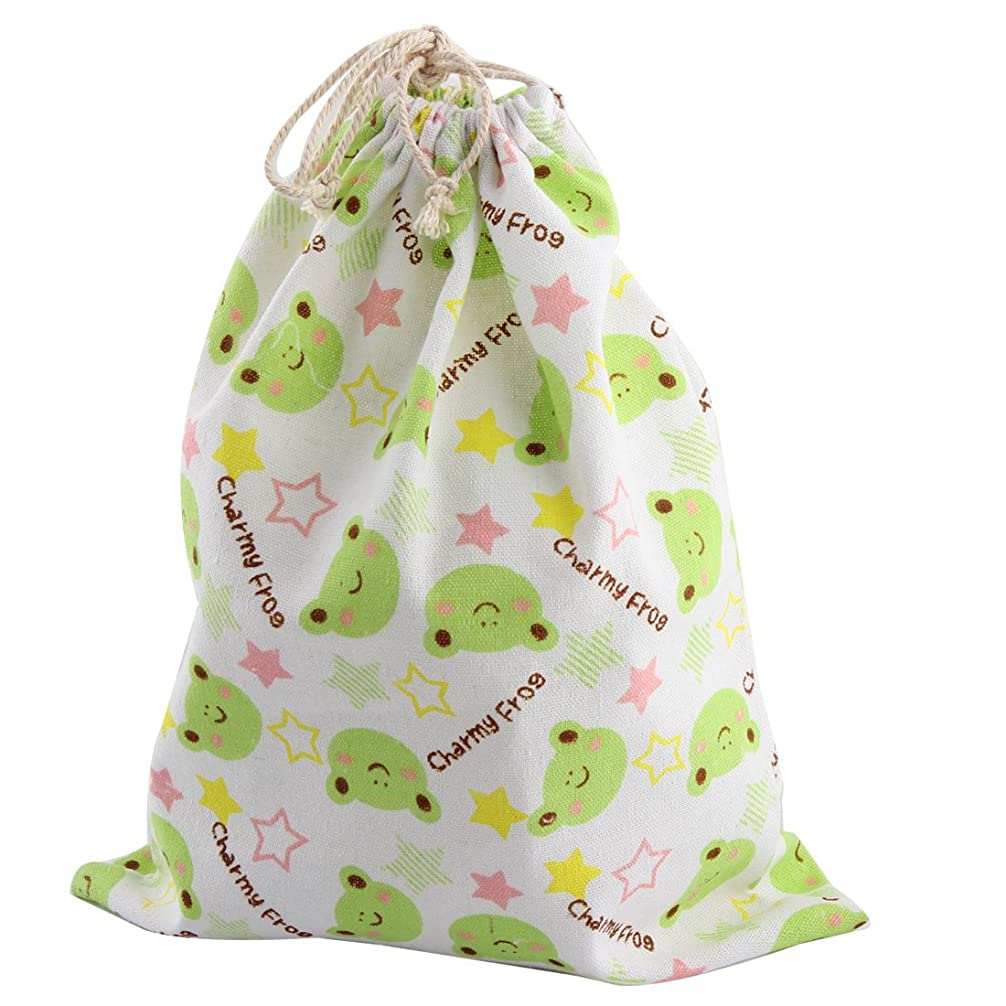 uxcell 収納袋 巾着袋 引きひも袋 収納ポーチ 家庭用品 リネン バッグ 蛙パタン服 靴下 ストレージ通し紐袋 29.5 x 23.5cm