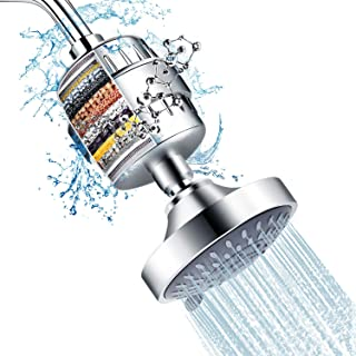 Shower Head and 15 Stage Shower Filter Combo, FEELSO High Pressure 5 Spray Settings Filtered Showerhead with Water Softene...