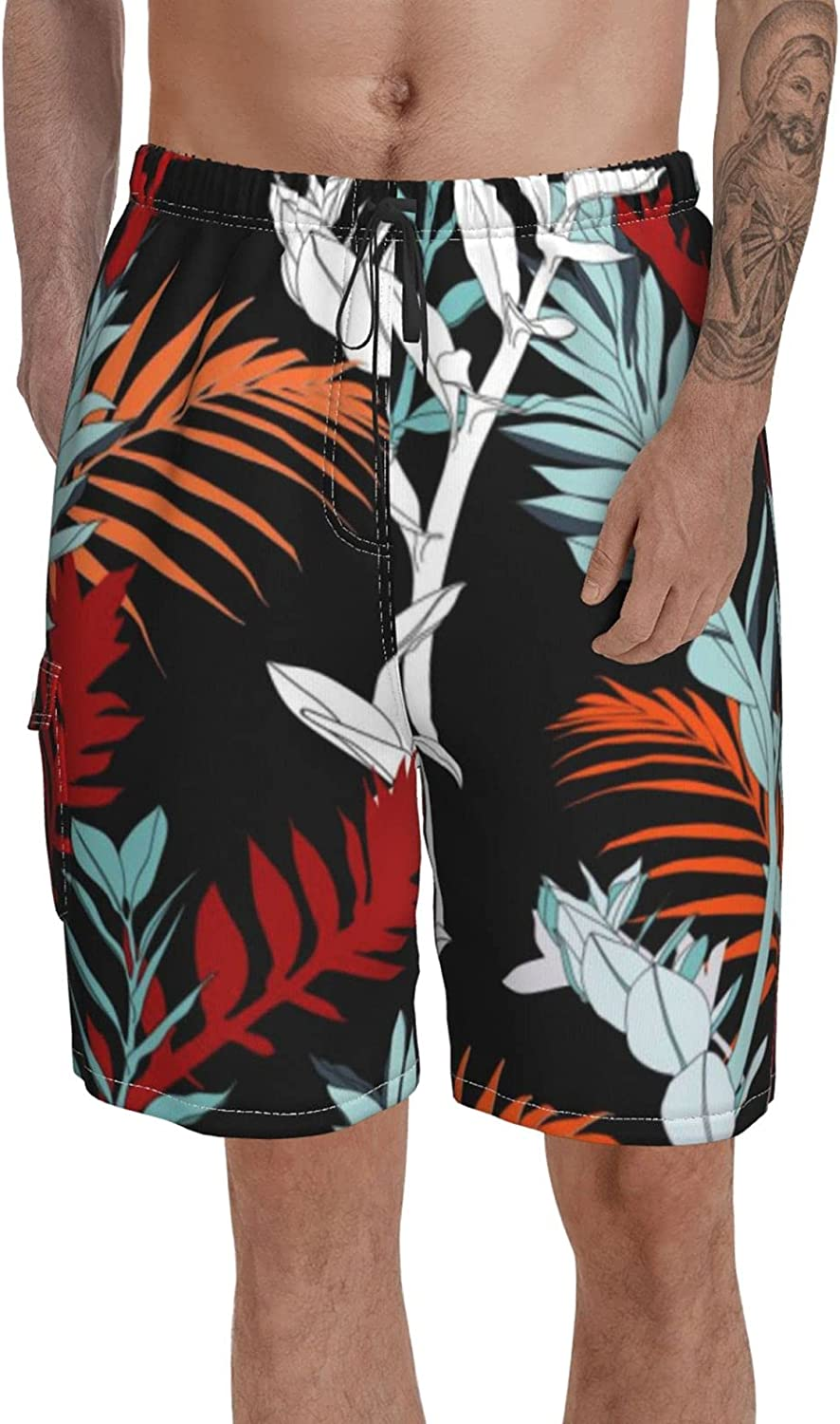 Male Swim Trunks Printed Boardshort Blue Watercolor Big and Tall Beach Shorts for Summer