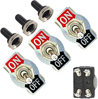 Etopars™ 3 X Heavy Duty 20A 125V 15A 250V DPST 4 Terminal Pin ON/OFF Rocker Toggle Switch Flick Metal Waterproof Cap Knob