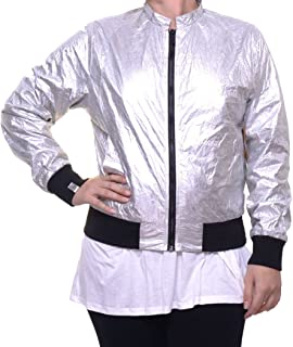 Womens Metallic Bomber Jacket, Metallic, Medium