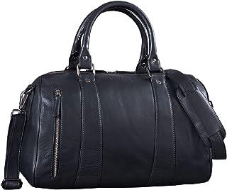"""STILORD Keanu"""" Leder Weekender Herren kleine Vintage Reisetasche zum Umhängen Handgepäck Reisegepäck in Kabinengröße echtes Rindsleder, Farbe:schwarz"""