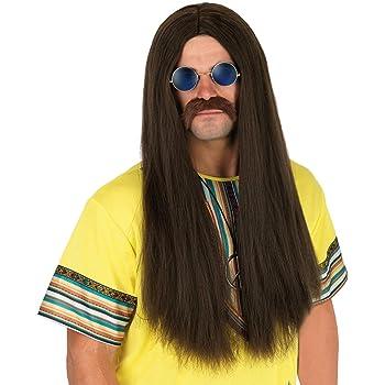 Mens Brown Hippie Wig /& Moustache Set 70s Hippy Fancy Dress Costume Accessory