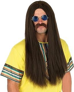 Fun Shack Peluca castaña de Hippie con Pelo Largo y Liso para Hombre
