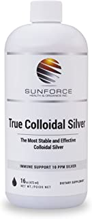 True Colloidal Silver Dietary Supplement - 10 ppm Silver for Immune Support - 16 oz