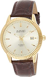 August Steiner Men's Automatic Diamond Dress Watch - Coin Edge Case with Gold ToneDial on Brown Genuine Leather Alligator ...