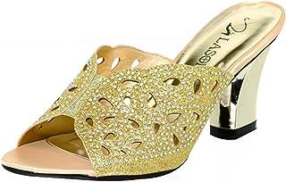 9821cb124fe8e Lasonia Open Toe Slip on Rhinestone Studded Glitter Sandals S7746