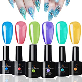 FIGHTART Jelly Gel Polish Set Crystal Rainbow Color Gel 6 Bottles 10 ml Each soak Off uv led