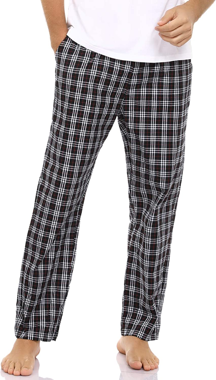 Aibrou Mens Check Pyjama Bottoms Cotton Plaid Lounge Wear Pants Sleepwear Classic Pjs Trouser Nightwear with Pockets