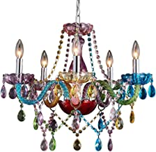 Saint Mossi Modern Contemporary Elegant K9 Crystal Glass Chandelier Pendant Ceiling Lighting Fixture - 5 Lights, Colorful ...