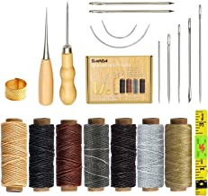 SIMPZIA 20 Pieces Leather Craft Tools with Hand Sewing Needles Drilling Awl Waxed Thread and Thimble for Leather Upholster...