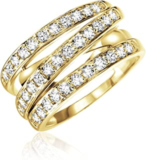 Jewels by Erika 14K Gold Three Row Diamond Ring (0.75TDW, G-H Color,I1 Clarity) Size 7