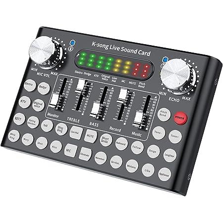 POHOVE Carte son Bluetooth Live avec effets et changement de voix, mixeur audio DJ, mini table de mixage pour téléphone portable, ordinateur, jeux en direct, diffusion karaoké
