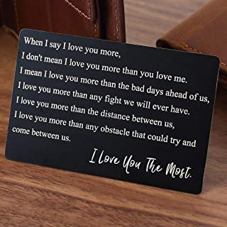 Engraved Wallet Insert Anniversary Gifts for Men, I Love You, Boyfriend Gifts, Metal Wallet Card Insert, Mini Love Note, Anniversary Card from Wife, Anniversary Cards for Husband, Deployment Gift