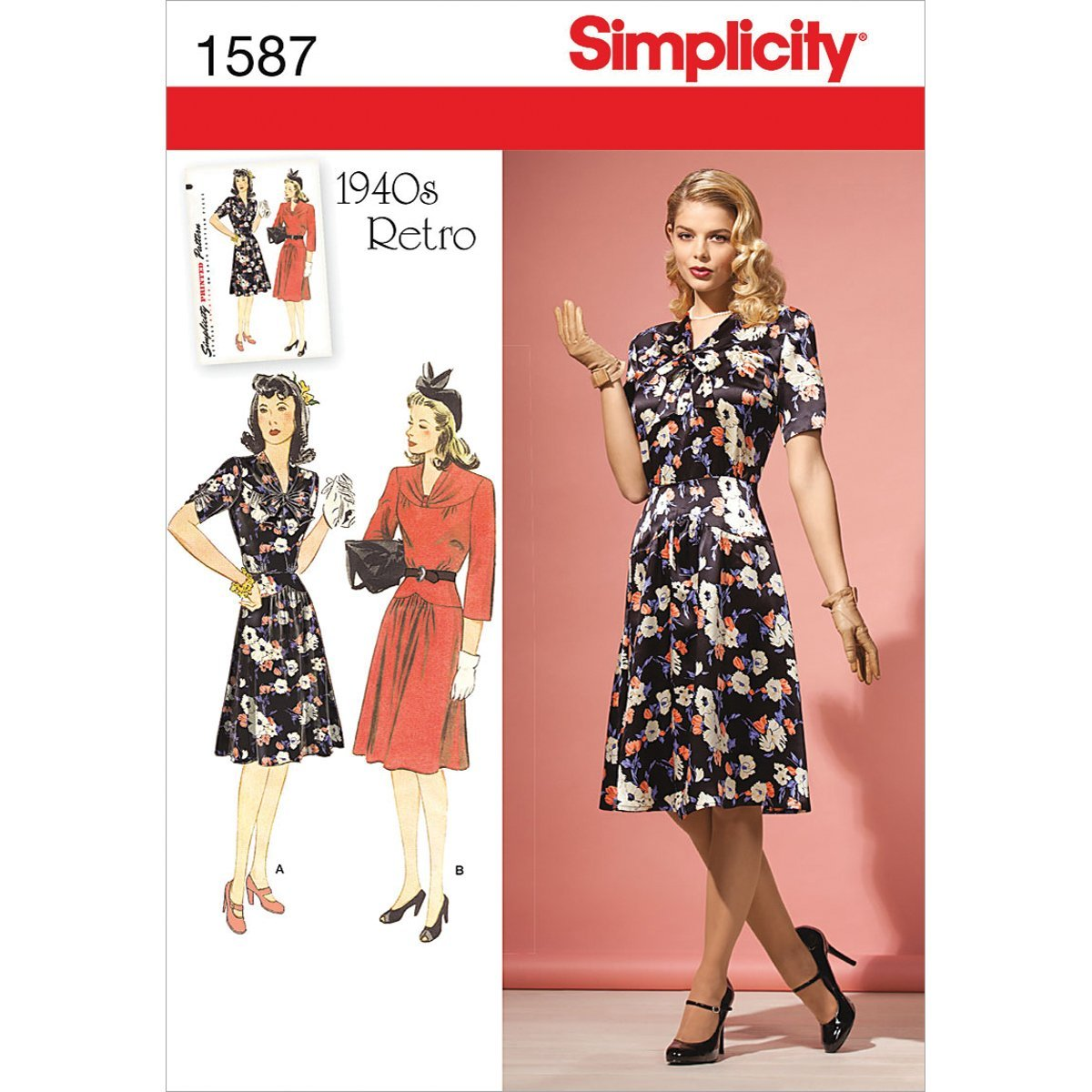 28W us # 8242 From UK Sewing Pattern 1940/'s Women/'s Two Piece Dress 20W