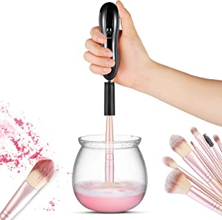 Makeup Brush Cleaner and Dryer, LARMHOI Electric Makeup Brush Cleaning Tool with 8 Size Rubber Collars, Portable Cleaning Mat, Deep Cosmetic Brush Spinner for Makeup Brush, Beauty, Women Gifts