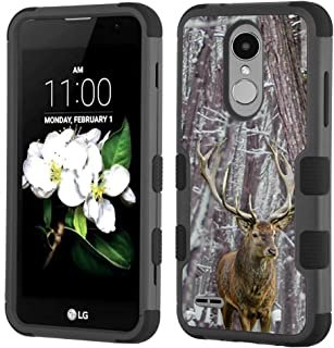 Shockproof Case for LG Rebel 4 LTE/Risio 3 / Fortune 2 / Zone 4 / Phoenix 4, One Tough Shield 3-Layer Hybrid Protector Phone Case (Black) - Deer/Snow/Camo