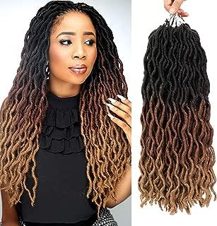 Ameli 6 Packs Wavy Gypsy Locs Crochet Hair Ombre Fauxs Locs Crochet Hair Pre-looped Goddess Locs Crochet Braiding Hair Extensions (18INCH, 1B/30/27)