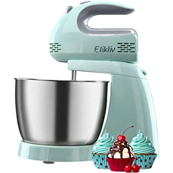5-Speeds Electric Stand Mixers Cake Mixer with 3L Bowl for Baking Egg Whisk Electric Whisk for Kitchen Baking Cake Ice Cream Food Beater with 2X Dough Hooks and Balloon Whisks