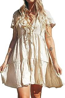 CUPSHE Women's Sandy Stripe Ruffled Self Tie Shirring Short Sleeve Dress