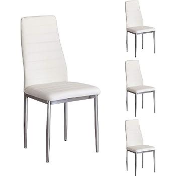 GOLDFAN Juego de 4 sillas de Comedor,Silla Color Blanco Set de ...