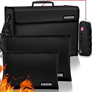 Fireproof Bag with Lock (TSA Approved) | Fireproof Document Bags XXXL Size (17 x 12 x 6 inch), A4 & A5 Size | Waterproof F...