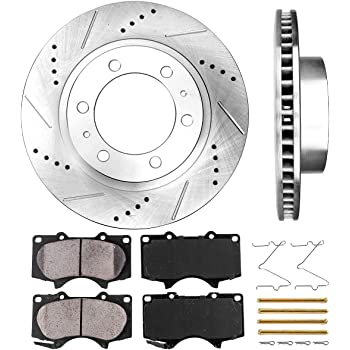 Callahan CDS02017 FRONT 319 mm Premium D/S 6 Lug [2] Brake Rotors + Pads + Clips [fit Toyota 4Runner FJ Cruiser Tacoma]