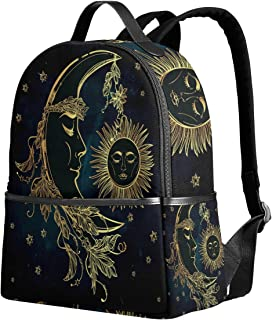 Use4 Ethnic Moon and Sun Flower Star Polyester Backpack School Travel Bag