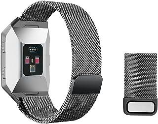 Vicstar Fitbit Ionic バンド 交換ベルト 網状 ミラノニースタイプ ステンレススチル ビジネス風 マグネットクラスプ付き 長さ自由に調整可能 工具一切不要 脱着簡単 ブラック