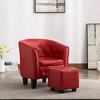 Tidyard Sillón con Diseño de Cubo con Reposapiés Sillones de Salón Diseño Moderno Cuero Dintético Rojo