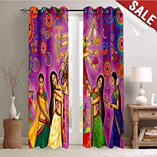 Hengshu Bengal Waterproof Window Curtain Asian Woman in Colorful Dress Cartoon Style Figures on Paisley and Flower Backdrop Room Darkening Wide Curtains W72 x L84 Inch Multicolor