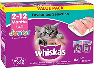 Whiskas Junior Favourites Selection in Tuna & Mackarel, Cat Food Pouch - 12 x 85 gm