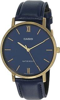 ساعة كاسيو للرجال بمينا زرقاء وسوار من الجلد - MTP-VT01GL-2BUDF، انالوج