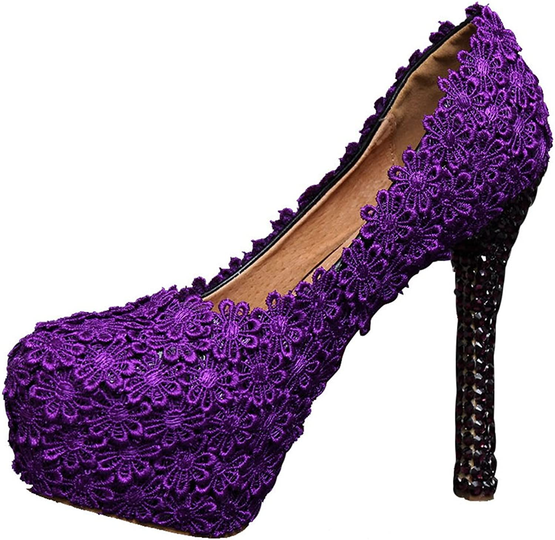 Miyoopark LL092 Women's Lace Flowers Bridal Bridesmaid Wedding Evening Pumps shoes