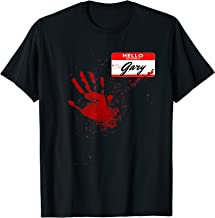 Mens Hello My Name Is Gary - Blood Hand - Scary Halloween T-Shirt