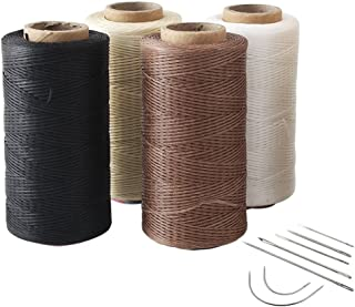 4pcs Crafts 0.8mm 150D Leather Sewing Hand Stitching Jewelry Craft Waxed Thread String Cord with 1 Set (7pcs) Curved Upholstery Sewing Needles (White + Beige + Dark Brown + Black)