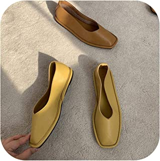 2020 Spring and Autumn New Square Head Microfiber Soft Leather Flat Low-top Shoes Single Shoes Women's Shoes Scoop Shoes