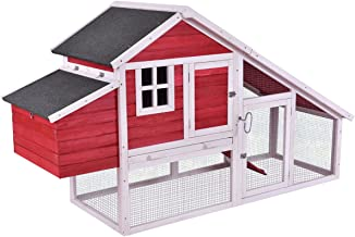 Tangkula Large Chicken Coop Wooden Outdoor Garden Backyard Bunny Rabbit Small Animal Hen Cage Rabbit Hutch with Run Nest (Size 64'')