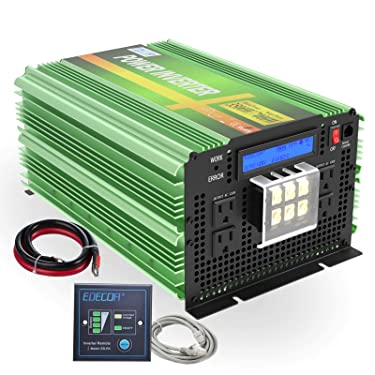 EDECOA Pure Sine Wave Power Inverter 3500W DC 12V to AC 120V with LCD Display and Remote Controller 4 AC Outlets and 1 AC Terminal Block- Upgraded