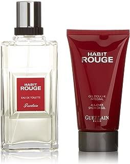 Habit Rouge by Guerlain for Men Set, 3.4 oz Eau de Toilette Spray + 2.5 oz All Over Shower Gel