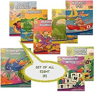 8 School Zone Workbooks, Reading Readiness 1 and 2, Writing, Spelling Puzzles, Alphabet, Math, Numbers, Kindergarten Scholar, Interactive Games Links, Achievement Certificates K-2nd Grade, bundle set