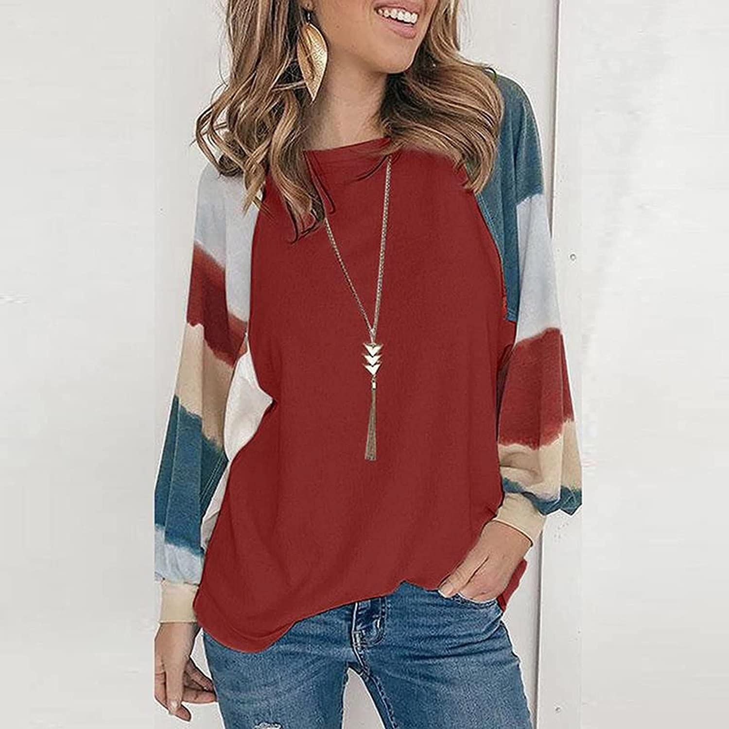 Women's Round Neck Long Sleeve Leopard Print Casual Loose Tees T-shirt Blouse Spring Autumn Clothes