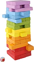 Pidoko Kids Wooden Stacking Building Blocks for Kids - Tumbling Blocks Board Games (49 Pieces)