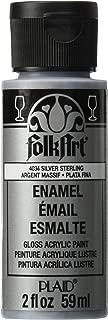 FolkArt Enamel Glitter and Metallic Paint in Assorted Colors (2 oz), 4034, Metallic Silver Sterling