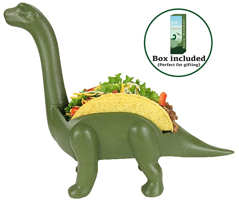 GrubKeepers by Penko Dinosaur Taco Holder Stand - Ultrasaurus (Holds 2 Tacos!) - Perfect Gift for Taco Lovers Kids or Adults Fun Kitchen Accessory Tacosaurus Taco Holder for kids