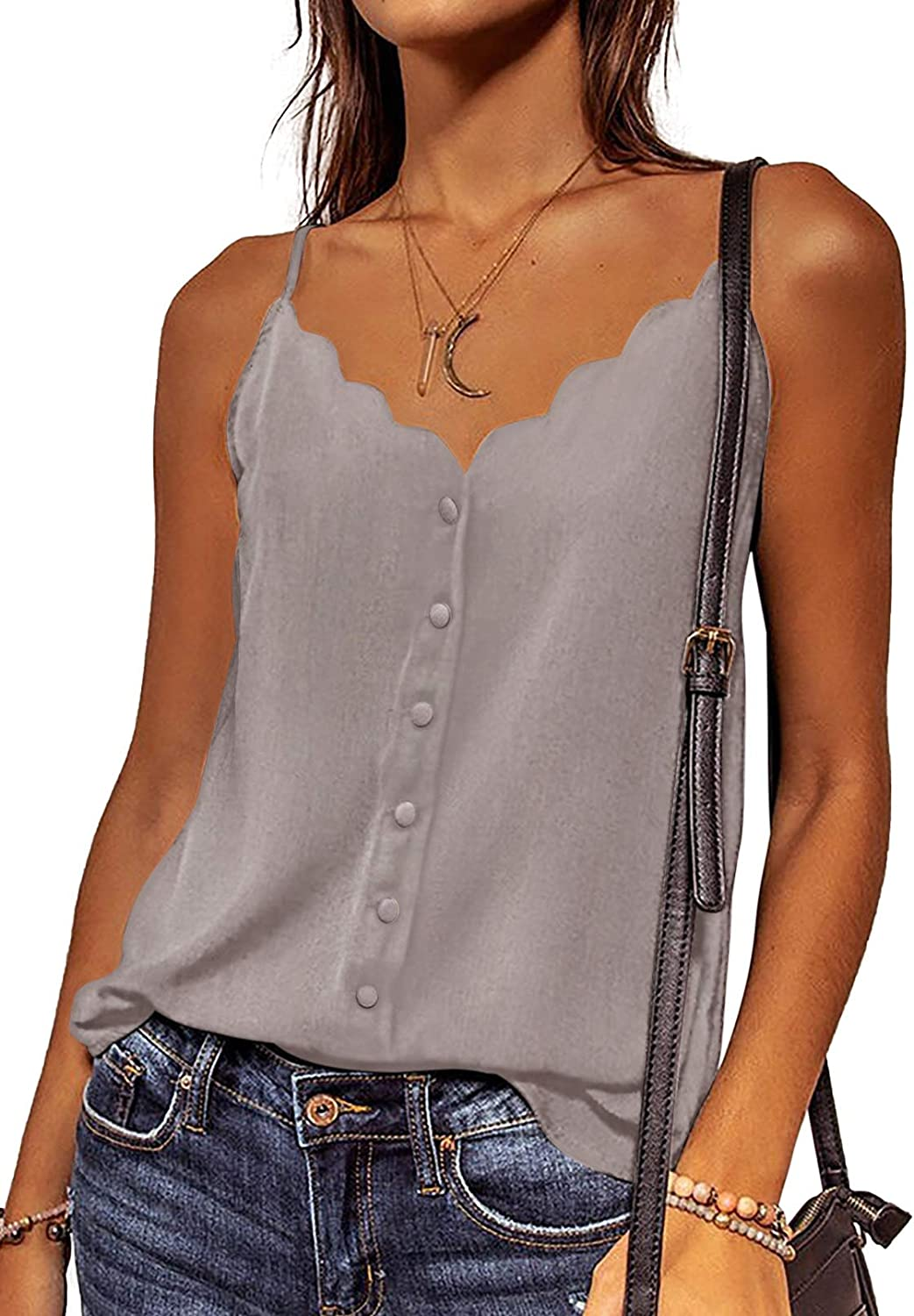 Ecrocoo Women's Button Down Sexy V Neck Spaghetti Strappy Cami Tank Tops Casual Summer Loose Fit Sleeveless Shirts Blouses